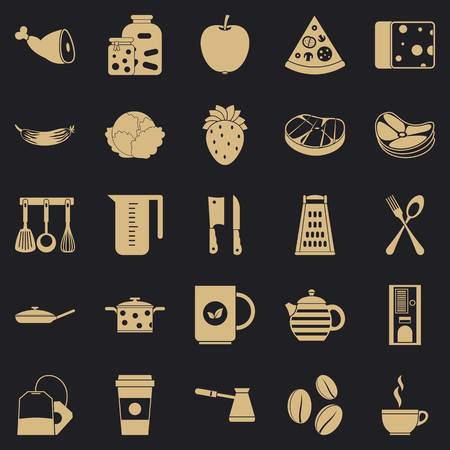 Culinary icons set, simple style Illustration