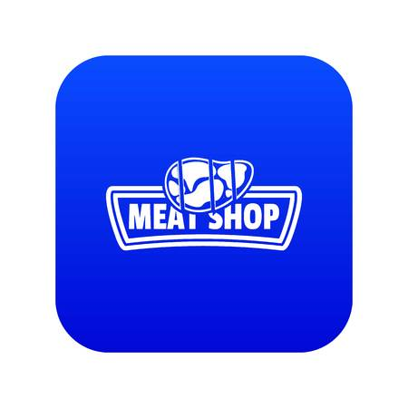 Meat shop icon blue vector