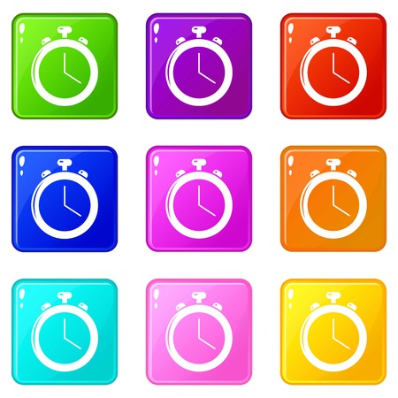 Stopwatch icons set 9 color collection Ilustração