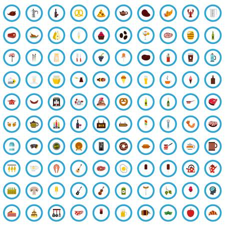 100 menu art icons set, flat style