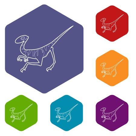 Velociraptor icons vector hexahedron