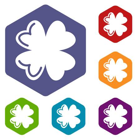 Quatrefoil leaf icons vector hexahedron Illustration