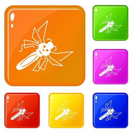Mosquito icons set vector color