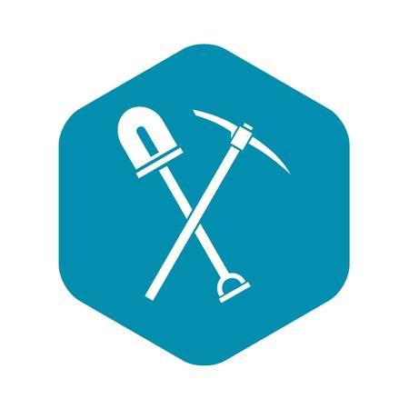 Shovel and pickaxe icon, simple style