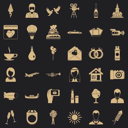 Great wedding icons set, simple style Illustration