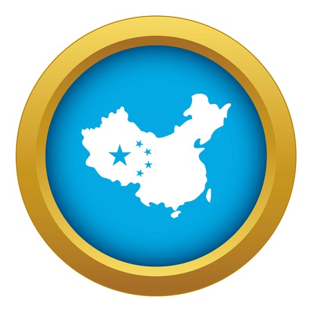 Map of China icon blue vector isolated