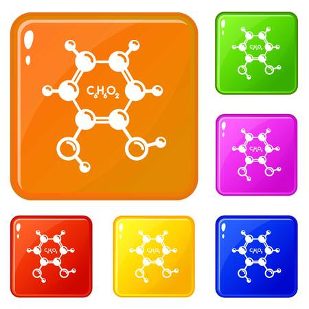 Catechol molecule icons set vector color Illustration