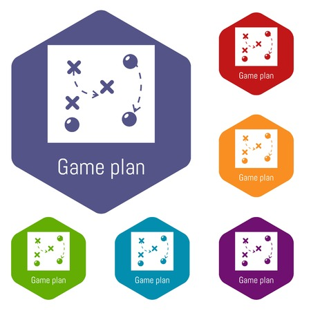 Game plan icons vector hexahedron Illustration