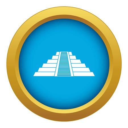 Ziggurat in Chichen Itza icon blue vector isolated