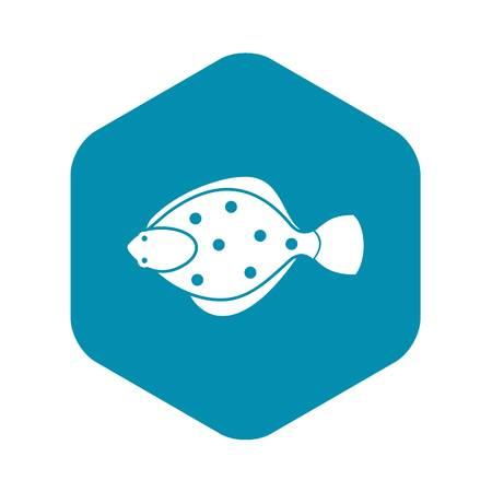 Flounder fish icon in simple style isolated vector illustration