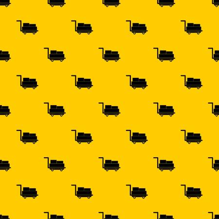Cart with luggage pattern seamless vector repeat geometric yellow for any design Vettoriali
