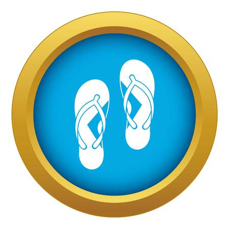 Flip flop sandals icon blue vector isolated on white background for any design Illustration