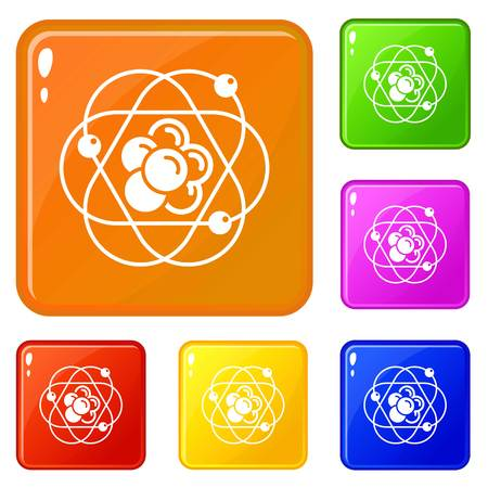 Atom molecule icons set collection vector 6 color isolated on white background