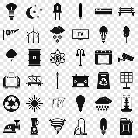 Windmill icons set. Simple style of 36 windmill vector icons for web for any design Banque d'images - 119392578