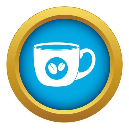 Cup of coffee icon blue vector isolated on white background for any design