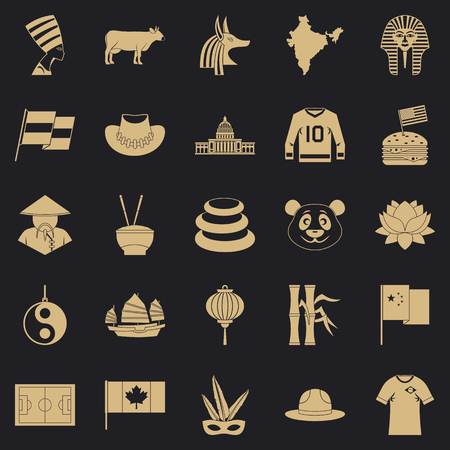 Monument icons set. Simple set of 25 monument vector icons for web for any design