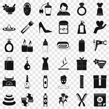 Woman icons set. Simple style of 36 woman vector icons for web for any design Illustration