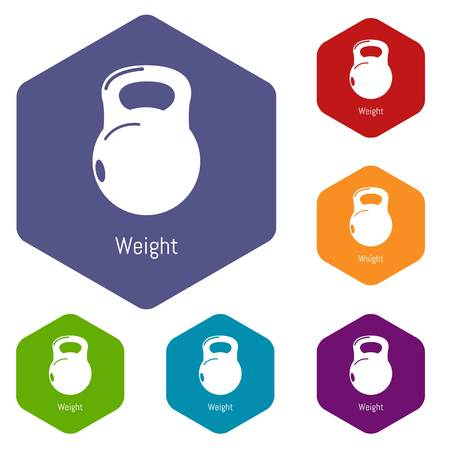 Kettlebell icons vector colorful hexahedron set collection isolated on white