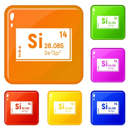Silicons set collection vector 6 color isolated on white background Vektorgrafik