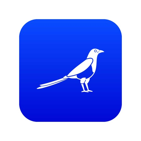 Bird magpie icon digital blue for any design isolated on white vector illustration