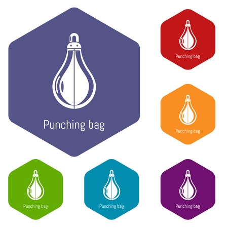 Punching bag icons vector colorful hexahedron set collection isolated on white Ilustração