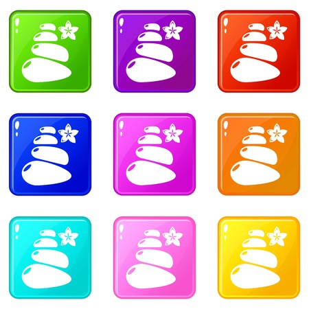Spa balance stones icons set 9 color collection isolated on white for any design