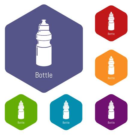 Sport bottle icons vector colorful hexahedron set collection isolated on white