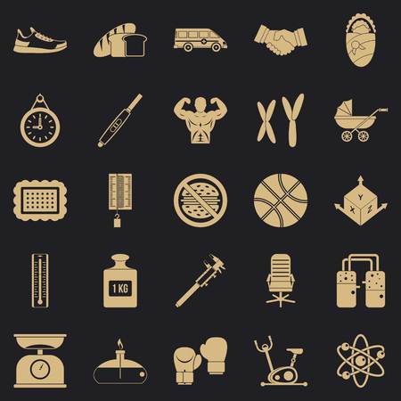 Weighing icons set, simple style Vektorové ilustrace
