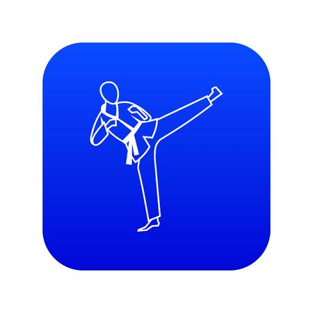 Wushu master icon digital blue for any design isolated on white vector illustration