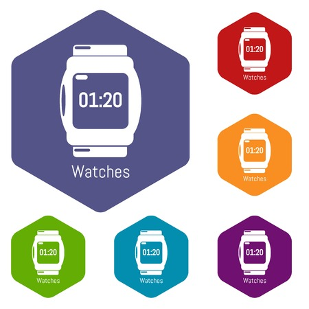 Watches icons vector colorful hexahedron set collection isolated on white Illustration