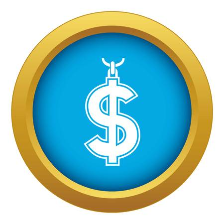 Necklace of dollar symbol icon blue vector isolated on white background for any design
