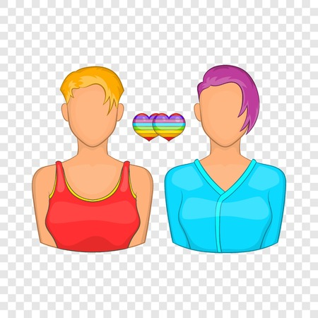 Two girls lesbians icon in cartoon style isolated on background for any web design