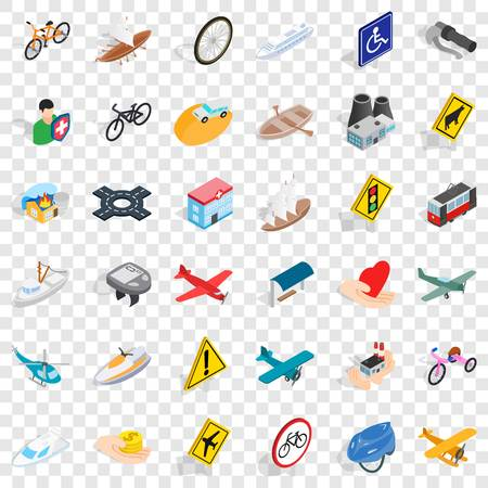 Crossroad icons set. Isometric style of 36 crossroad vector icons for web for any design