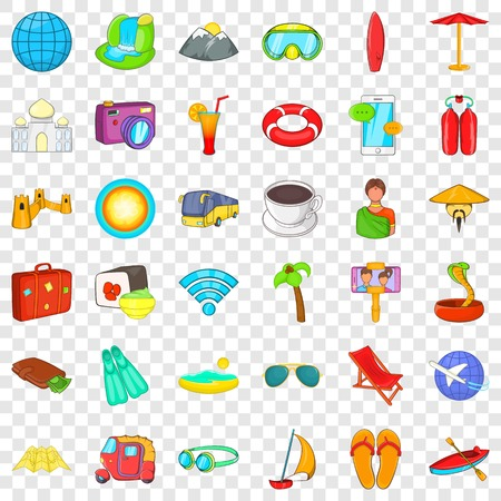 Good travel icons set. Cartoon style of 36 good travel vector icons for web for any design