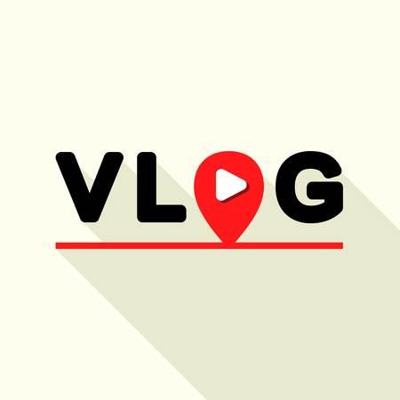 Vlog logo, flat style