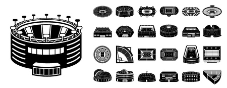 Arena icons set. Simple set of arena vector icons for web design on white background