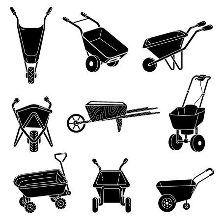 Wheelbarrow icons set. Simple set of wheelbarrow vector icons for web design on white background