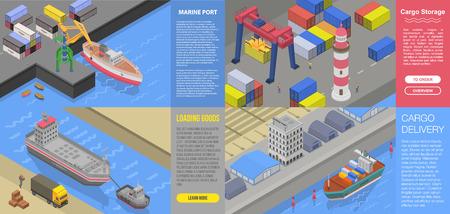 Modern marine port banner set. Isometric set of modern marine port vector banner for web design