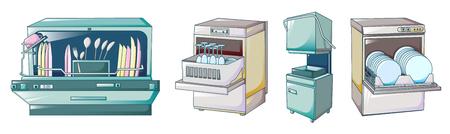 Dishwasher icons set, cartoon style