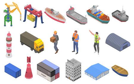 Marine port icons set. Isometric set of marine port vector icons for web design isolated on white background Illustration