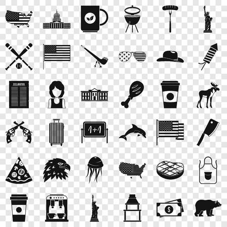 American icons set, simple style 矢量图像