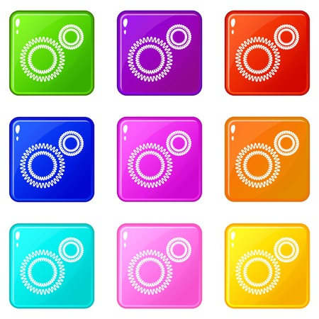 Mildew virus icons set 9 color collection