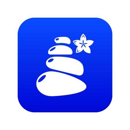 Spa balance stones icon blue vector