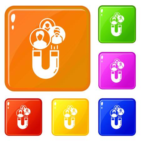 Magnet client retention icons set collection vector 6 color isolated on white background