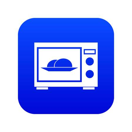 Microwave icon digital blue for any design isolated on white vector illustration Illustration