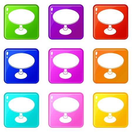Round table icons set 9 color collection