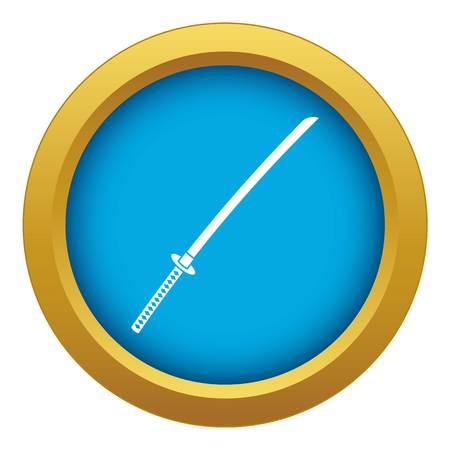 Japanese katana icon blue vector isolated