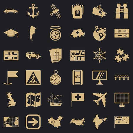 Cartography icons set, simple style  イラスト・ベクター素材