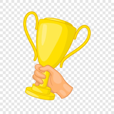Hand holding gold trophy cup icon, cartoon style