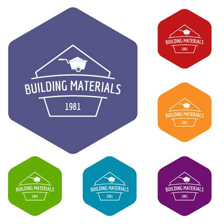 Building materials icons vector hexahedron